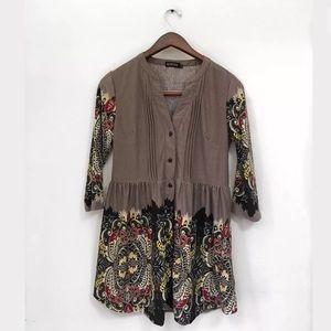Reborn medium brown paisley long sleeve dress